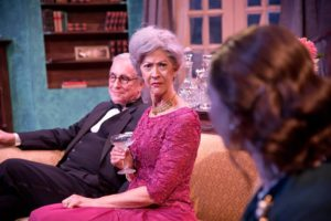 Phil Bufithis (left) as Dr. Bradman and Nancy Blum (right) as Mrs. Bradman in Blithe Spirit