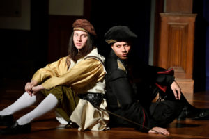 Nina Krauss (left) as Trinculo and Jeff Miller (right) as Stephano