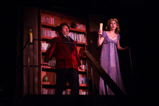 Jeffrey Shankle (left) as Dr. Frederick Frankenstein and Louisa Tringali (right) as Inga