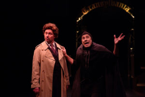 Jeffrey Shankle (left) as Dr. Frederick Frankenstein and David James (right) as Igor