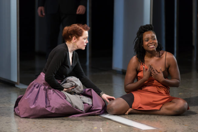 Madeleine Potter (left) as Gertrude and Oyin Oladejo (right) as Ophelia
