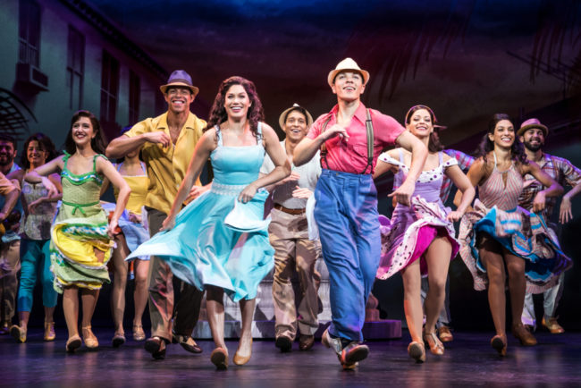 Christie Prades (center left) as Gloria Estefan with Adrele Fleet and Company- On Your Feet!