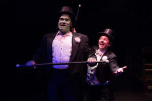 Christopher Kabara (left) as The Monster and Jeffrey Shankle (right) as Dr. Frederick Frankenstein