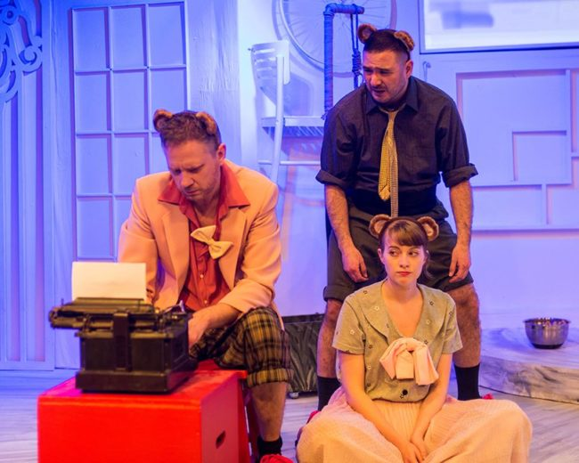 Matt Bannister (left) as Milton, Omar LaTiri (right above) as Swift and Rebecca Shoer (right below) as Kafka