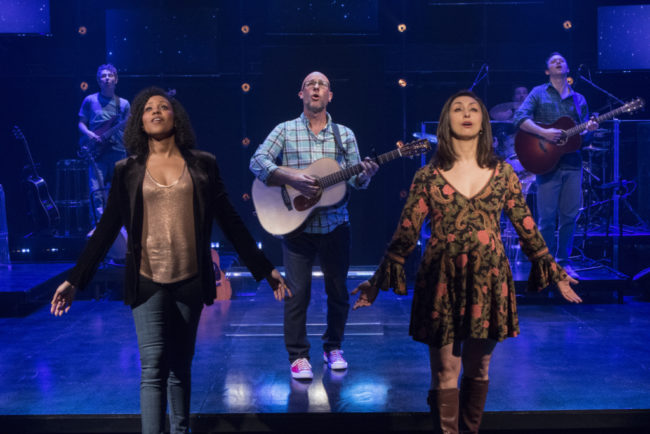 John Sygar, Kara-Tameika Watkins, Robbie Schaefer, Natascia Diaz, and Luke Smith in LIGHT YEARS at Signature Theatre