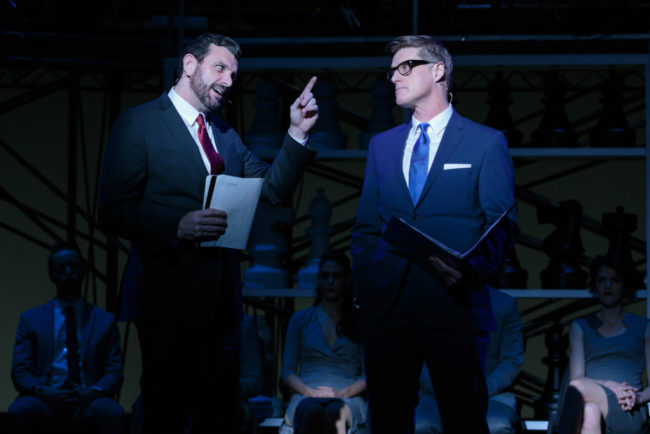 Bradley Dean (left) as Molokov and Sean Allan Krill (right) as Walter in Chess