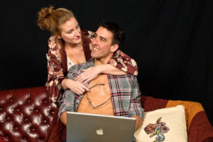 Elizabeth Hester (left) as Olivia and Dylan Roche (right) as Ethan in Sex With Strangers at Colonial Players