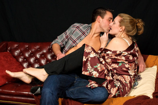 Dylan Roche (left) as Ethan and Elizabeth Hester (right) as Olivia in Sex With Strangers at Colonial Players