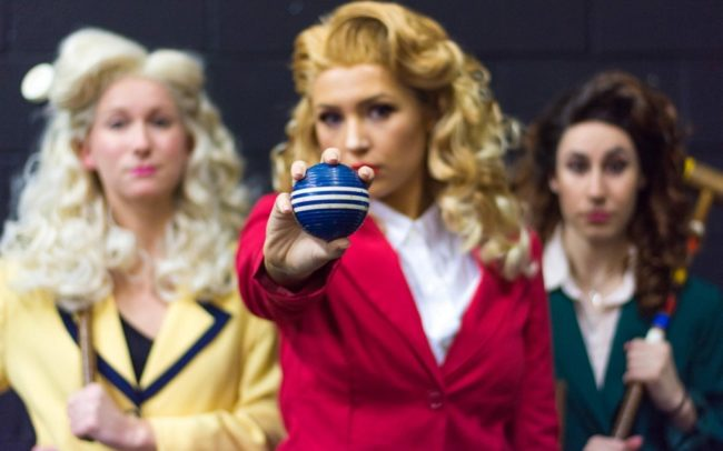 Emily Elborn (left) as Heather McNamara, Sydney Phipps (center)  as Heather Chandler, and Lizzie Detar (right)  as Heather Duke