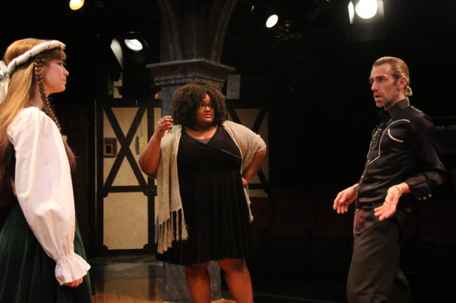 Katrina Jackson (left) as Deidre McDavey, Shanelle Fontaine (center) as Felicia Dantine, and Jon Ingbretson (right) as Gary Peter Lefkowitz