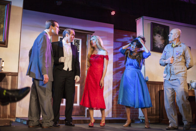 (L to R) Chris Volker as Mr. Green, Greg Guyton as Ash, Denise Roger Mylin as Miss Scarlet, Michele Guyton as Mrs. Peacock, and Phil Hansel as Colonel Mustard