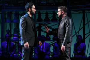Ramin Karimloo (left) as Anatoly Sergievsku and Raul Esparza (right) as Freddie Trumper in Chess