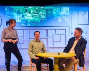 Rebecca Shoer (left) as the Waitress, David Dieudonne (center) as Mark and Matt Bannister (right) as Al