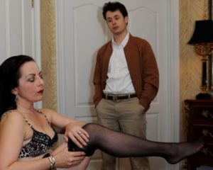 Dyana Neal (left) as Mrs. Robinson and Stephen Edwards (right) as Benjamin Braddock