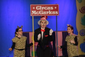 Karah Campbell (center) as The Cat in the Hat