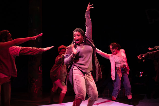 Taylor J. Washington (center) as Paradice in Brooklyn the musical at Monumental Theatre Company