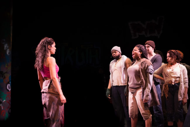 Briana Taylor (left) as Brooklyn and Taylor J. Washington (right) as Paradice with the ensemble of Brooklyn the musical
