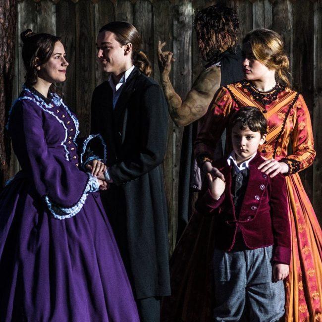 (L to R) Madelyn Dominiski  as Elizabeth, Michael Bannigan as Victor Frankenstein, Tennyson Harris as The Creation, Katie McCarren as Nanny Justine Moritz, and Sammy Greenslit as William Frankenstein