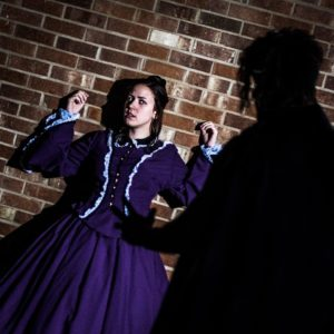 Frankenstein (Tennyson Harris) demands recompense of Elizabeth Lavenza (Madelyn Dominiski).
