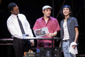 J. Quinton Johnson (left) as Benny, Anthony Ramos (center) as Usnavi, and Mateo Ferro (right) as Sonny