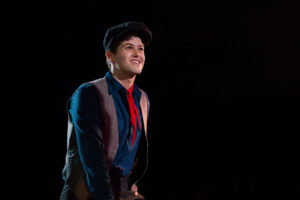 Matt Hirsch as Jack Kelly in Newsies at Toby's Dinner Theatre