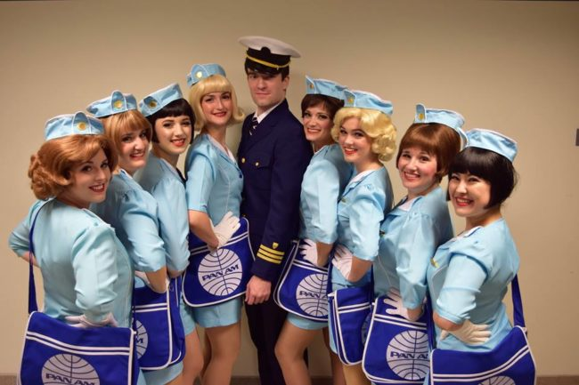 Jim Baxter (center) as Frank Abagnale Jr. and the Frank Abagnale Jr. Dancers in Catch Me If You Can