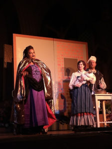 Kay-Megan Washington (left) as the Witch, Ginny Hornbeck (center) as Baker's Wife, and Ryan Geiger (right) as Baker