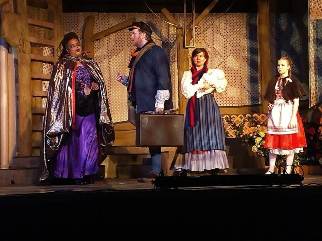 (L to R) Kay-Megan Washington as The Witch, Ryan Geiger as Baker, Ginny Hornbeck as Baker's Wife, and Ruby Webb as Little Red Ridinghood