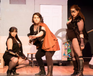 Rebecca Clendaniel (left) as Kaliope, Linda Roby (center) as Tilly, and Lianna Brizzi (right) as Lilith