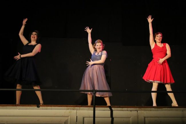 Megan Mostow (left) as Helene, Ashley Gerhardt (center) as Nickie, and Katherine Sheldon (right) as Charity in Sweet Charity