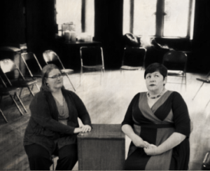 Stephanie Shade (left) as Doctor and Andrea Bush (right) as Mary in New York