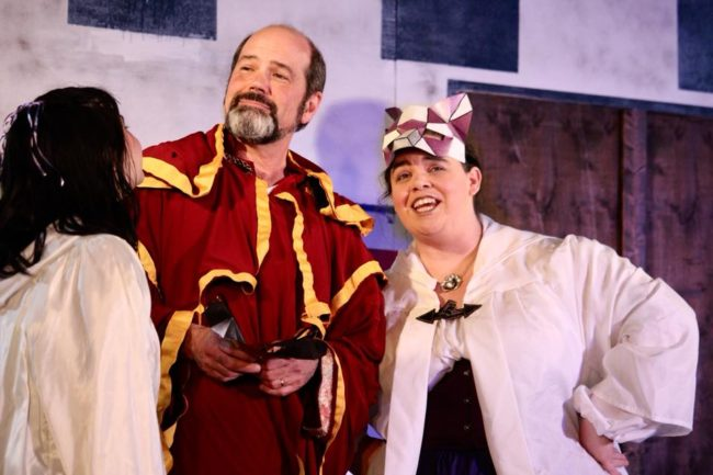 Joan Firestein (left) as Hero, Bill Bisbee (center) as Leonato, and Liz Armour (right) as Beatrice