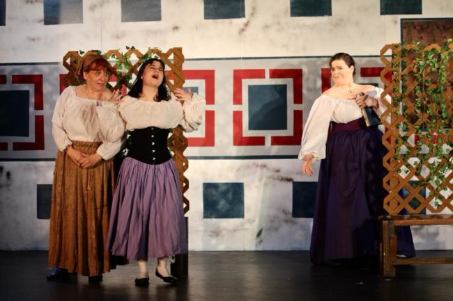 """A scene from """"Much Ado About Nothing"""" featuring Liz Armour (right) as Beatrice"""