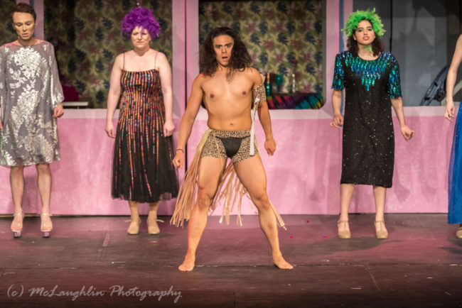 Brian Marquez (center) as a 'Native Australian' in Priscilla Queen of the Desert