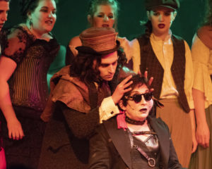 Henry Cyr (center left) as Mister Hyde and Emma Hawthorn (center right) as Spider