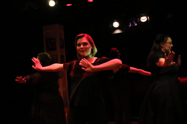 Lexi Martinez (forward facing center) and ensemble members of Love, Loss, and What I Wore