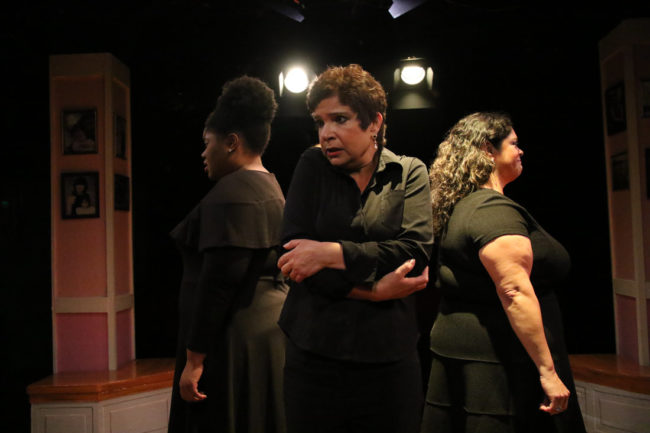 Shamire Cassell (left) with Melanie Bishop (center) and Michelle Gonzalez (right) in Love, Loss, and What I Wore