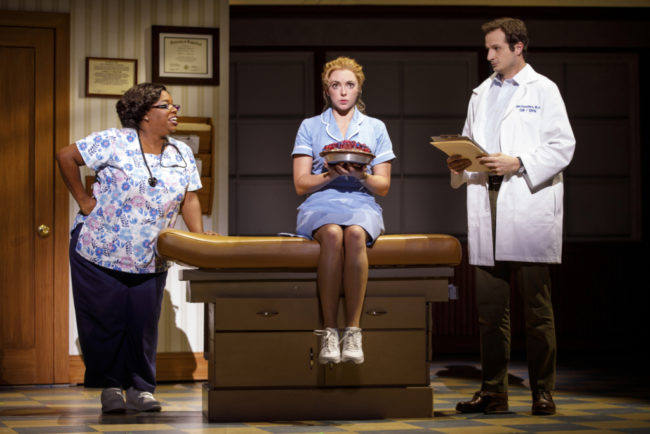 Maiesha McQueen (left) as Nurse Norma, Desi Oakley (center) as Jenna, and Bryan Fenkart (right) as Doctor Pomatter