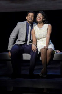 Derrick Baskin (left) as Otis Williams and Rashidra Scott (right) as Josephine