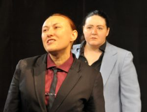 Jaki Demarest (left) as Antonio and Holly Trout (right) as Bassiano