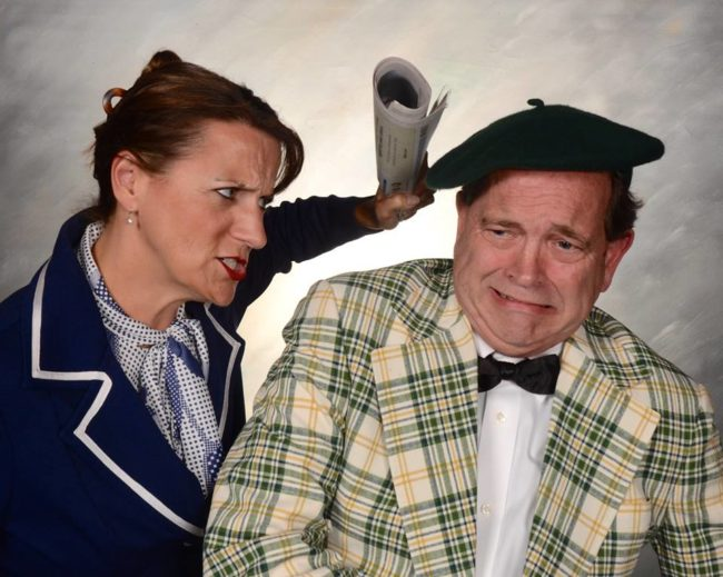 Jennifer Skarzinski (left) as Carol Wyman and John Dignam (right) as Milt Fields in Laughter on the 23rd Floor