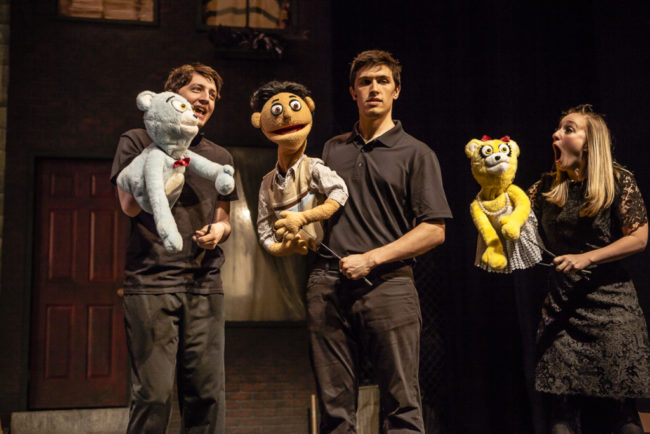 Anthony Case (left) as Bad Idea Bear, Josh Schoff (center) as Princeton, and Angie Sokolov (right) as Bad Idea Bear