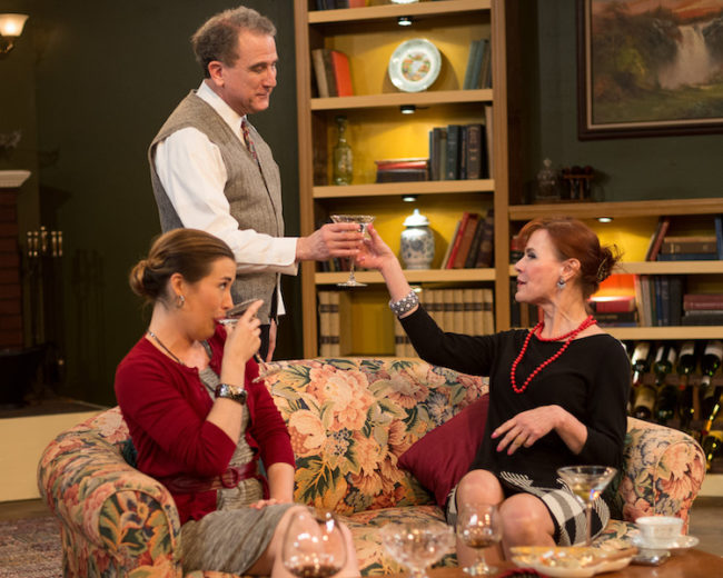 Diana Arnold (left) as Julia, Louis Pangaro (center) as Tobias, and Susan Harper (right) as Claire