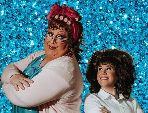 Kevin Buice (left) as Edna Turnblad and Theresa Cinalli (right) as Tracy Turnblad in Hairspray