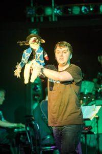 Lambchops Puppet (left) as Lamb of God and Zach Husak (right) as Abraham in Altar Boyz