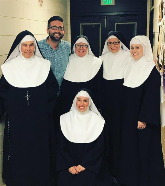 (L to R standing) Marge Ricci as Reverend Mother, Musical Director Steven Soltow, Laurie Starkey as Sister Robert Ann, Lisa Pastella as Sister Mary Hubert, Elise Starkey as Sister Mary Leo. (kneeling) Julie Parrish as Sister Mary Amnesia