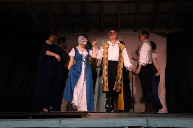 (L to R) Andrea Bush as Beatrice, Emily Plovan as Hero, Deb Carson as Leonato, and Paul Ballard as Balthazar