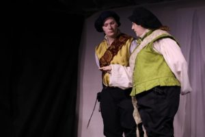 Joanna Matthews (left) as Claudio and Jennifer Hasselbusch (right) as Don Pedro