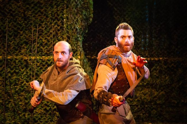 Joshua Simon (left) as Banquo and Jared H. Graham (right) as Macbeth