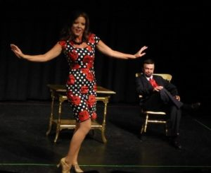 Tami Howe (left) as Lola and Chuck Dick (right) as Mr. Applegate in Damn Yankees